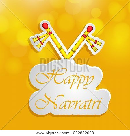 illustration of Dandiya sticks with Happy Navratri text on the occasion of hindu festival Navratri