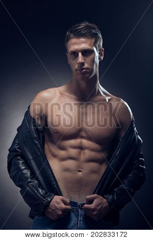 Fitness Model Posing, Muscular Abs Chest, Upper Body Shot, One Young Adult Caucasian Man, Black Back