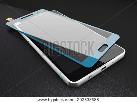 Protecting blue screen with cellular phone. 3d Illustration.