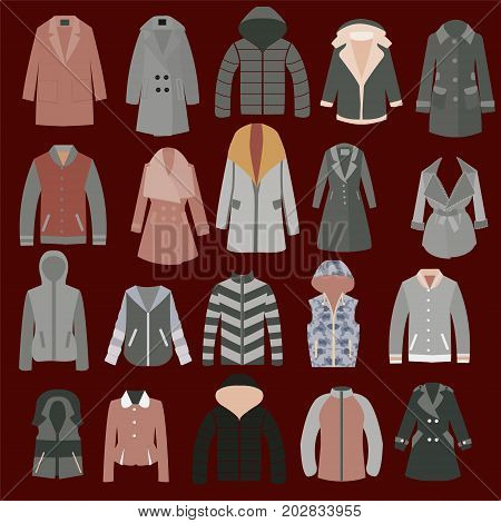 Autumn spring and winter seasonal clothing. Coats jackets and raincoats . Vector illustration of Various jackets and overcoats.