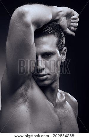 Caucasian One Young Adult Man, Muscular Fitness Model, Head Face Headshot, Head And Shoulders Shot,