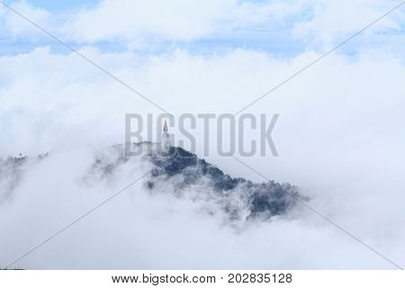 pagoda on high mountain with the mist on around