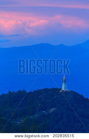 pagoda on high mountain in sunset time