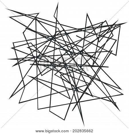 Chaotic random, irregular, edgy lines. Abstract geometric background with broken curves for creating textures. Art-like modern vector illustration. Dynamic style. Black on white color.
