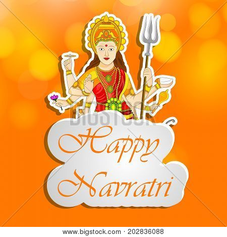 illustration of Hindu Goddess Durga with Happy Navratri text on the occasion of hindu festival Navratri