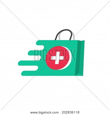 Medicine delivery vector logo concept, idea of fast emergency help service, flat pharmacy or medical bag symbol moving fast, first aid shipping logotype isolated on white background