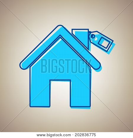 Home silhouette with tag. Vector. Sky blue icon with defected blue contour on beige background.