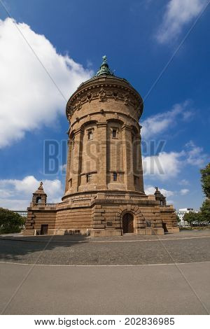 The famous Water Tower, a landmark of the city of Mannheim, Germany