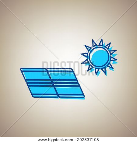 Solar energy panel. Eco trend concept sign. Vector. Sky blue icon with defected blue contour on beige background.