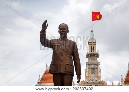 HO CHI MINH CITY (SAIGON), VIETNAM - JULY 2017 : Ho Chi Minh statue in front of City Hall, Saigon, Ho Chi Minh City, Vietnam