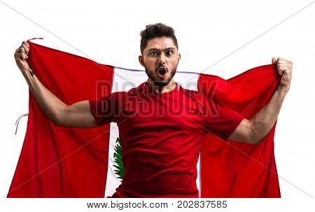 Peruvian Fan / Sport Player celebrating on white background