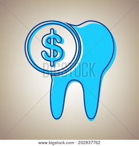 The cost of tooth treatment sign. Vector. Sky blue icon with defected blue contour on beige background.