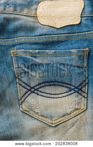 Pocket on jeans fashion texture and background