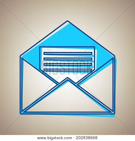 Letter in an envelope sign illustration. Vector. Sky blue icon with defected blue contour on beige background.