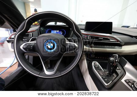 CRACOW POLAND - MAY 20 2017: Interior Design of BMW i8 displayed at MOTO SHOW in Cracow Poland. Exhibitors present most interesting aspects of the automotive industry