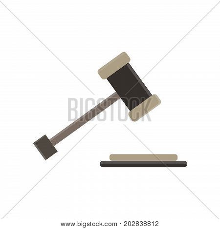 Hammer of a judge gavel vector flat icon