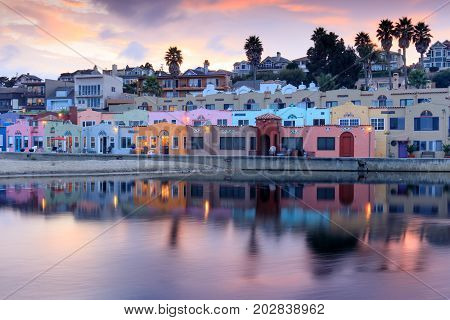 Capitola Village Sunset Reflections. Capitola, Santa Cruz County, California, USA