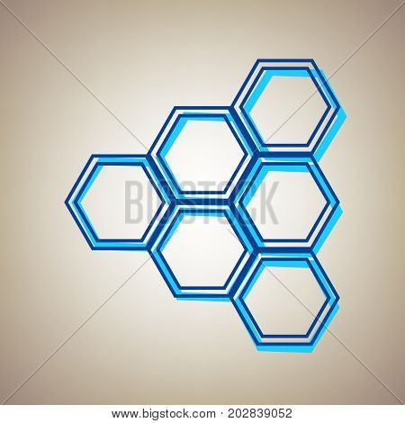 Honeycomb sign. Vector. Sky blue icon with defected blue contour on beige background.