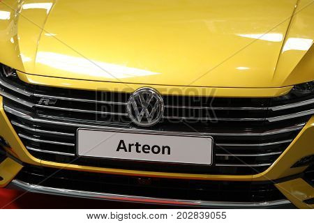 CRACOW POLAND - MAY 20 2017: Volkswagen Arteon displayed at MOTO SHOW in Cracow Poland. Exhibitors present most interesting aspects of the automotive industry