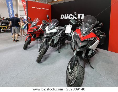 CRACOW POLAND - MAY 20 2017: Ducati motorcycle displayed at MOTO SHOW in Krakow. Poland. Exhibitors present most interesting aspects of the automotive industry