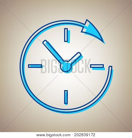 Service and support for customers around the clock and 24 hours. Vector. Sky blue icon with defected blue contour on beige background.
