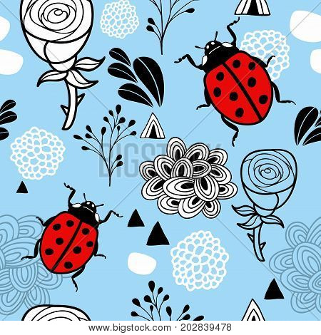 Endless pattern with red bugs and floral elements. Vector illustration.