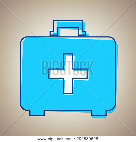 Medical First aid box sign. Vector. Sky blue icon with defected blue contour on beige background.