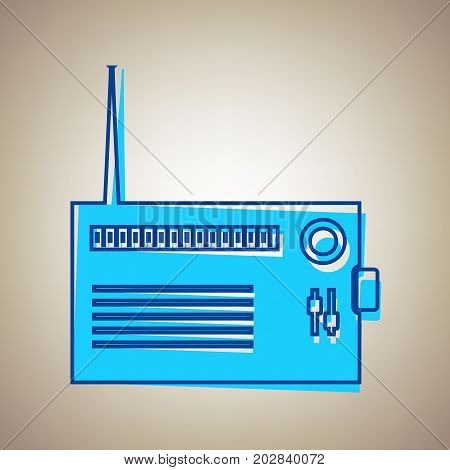 Radio sign illustration. Vector. Sky blue icon with defected blue contour on beige background.