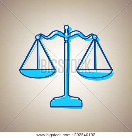 Scales balance sign. Vector. Sky blue icon with defected blue contour on beige background.