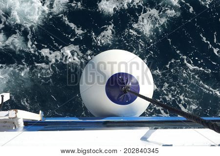 image of a fender ball against water