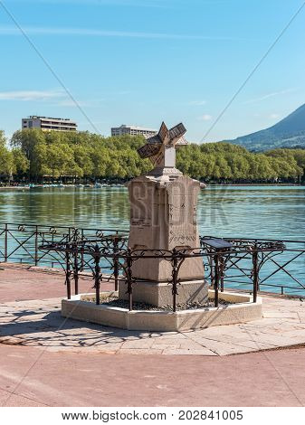 Annecy France - May 25 2016: Gnomon the sundial invented in 1874 by the monk-Capuchin brother Arsen born in Annecy.