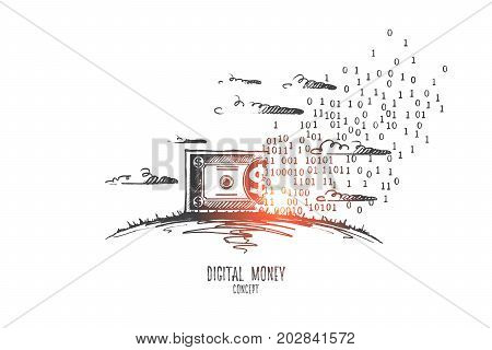 Digital money concept. Hand drawn symbol of virtual money. Banknote dollar became digital money isolated vector illustration.