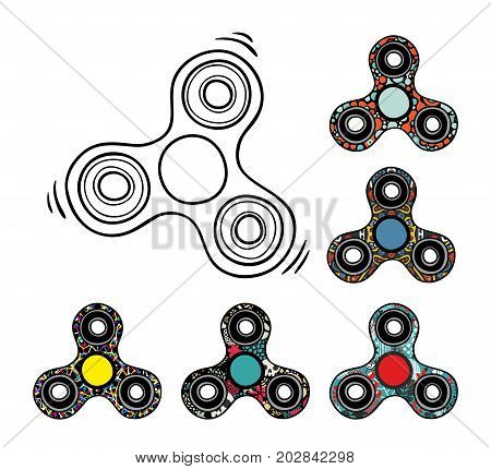 Collection of spinners. Vector illustration of colorful modern gadgets for kids and adults.