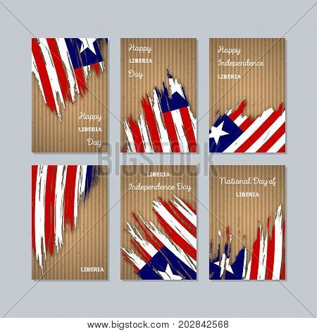 Liberia Patriotic Cards For National Day. Expressive Brush Stroke In National Flag Colors On Kraft P