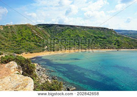 GHAJN TUHHEIHA BAY - MARCH 29, 2017 - Elevated view of Ghaja Tehheiha Bay, Malta, March 29, 2017.