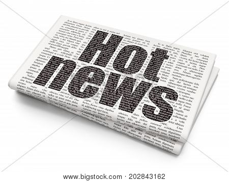 News concept: Pixelated black text Hot News on Newspaper background, 3D rendering
