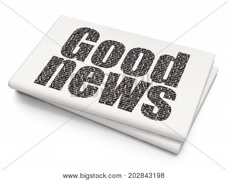 News concept: Pixelated black text Good News on Blank Newspaper background, 3D rendering