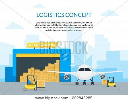 Cartoon Air Cargo Transportation Delivery Logistic Service Business for Card, Poster Flat Design Style. Vector illustration of Cargos