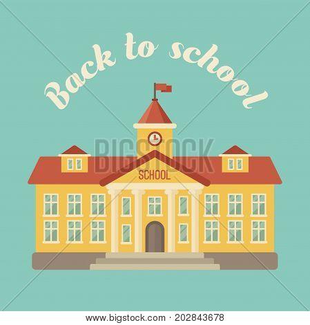 School building on blue background flat illustration. Back to school