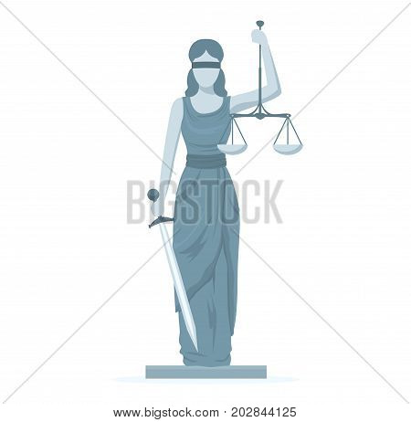 Cartoon Statue of Femida with Scales and Sword Flat Design Style Symbol Law Web Element. Vector illustration of of God Justice