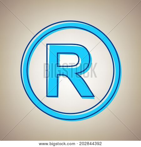 Registered Trademark sign. Vector. Sky blue icon with defected blue contour on beige background.