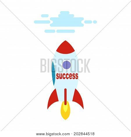 Success in the form of rocket flies straight to heaven in cartoon style. Achieve top in business and hop off above clouds. Vector illustration of success in business. Rocket startup isolated on white