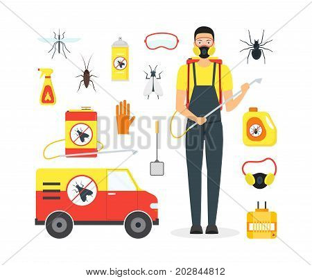 Cartoon Pest Control Service Business Equipment and Working Set Safety Home Flat Design Style for Poster. Vector illustration of Disinsection Control sign
