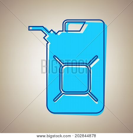 Jerrycan oil sign. Jerry can oil sign. Vector. Sky blue icon with defected blue contour on beige background.