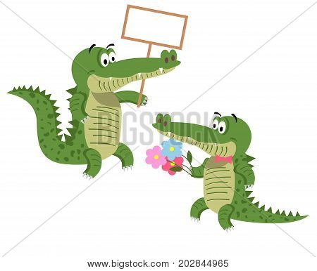 Cartoon crocodiles with empty signboard and with bouquet of flowers in tie bow isolated on white background. Cute big reptiles vector illustration. Drawn friendly crocs with eyebrows in flat style