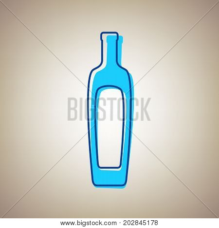 Olive oil bottle sign. Vector. Sky blue icon with defected blue contour on beige background.