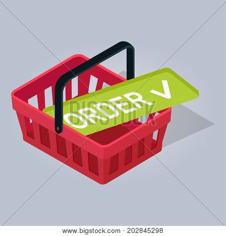 Adopted order in red basket hand drawn pattern on gray background with shadow. Successful booking on green signboard. Vector illustration of electronic commerce realistic material emblem cartoon style