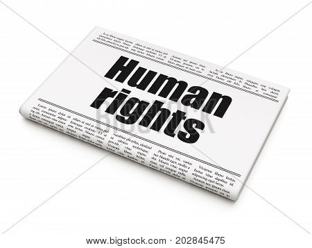 Political concept: newspaper headline Human Rights on White background, 3D rendering