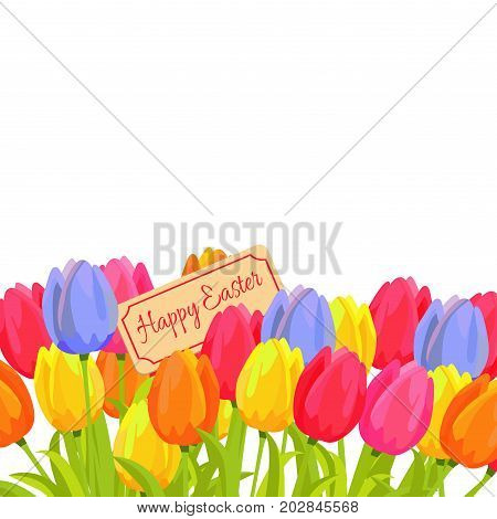 Happy Easter postcard with tulips and sign board for your text among beautiful flowers. Spring postcard with editable place for congratulations, red, yellow and blue and orange plants isolated vector