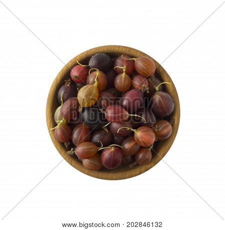 Gooseberries fruits isolated on white background. Gooseberries in a bowl with copy space for text. Top view.